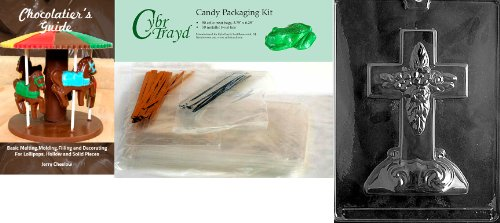 Cybrtrayd Large Cross with Base Chocolate Candy Mold with Chocolatier's Bundle, Includes 50 Cello Bags, 50 Gold/Silver Twist Ties and Chocolatier's Guide ()