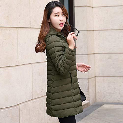 Colore Giaccone Fit Semplice Lunga Cappotti Slim Caldo Plus Fashion Glamorous Outerwear Puro Incappucciato Eleganti Donna Grün Piumino Manica Prodotto Leggero Piumini Invernali aUCCXx