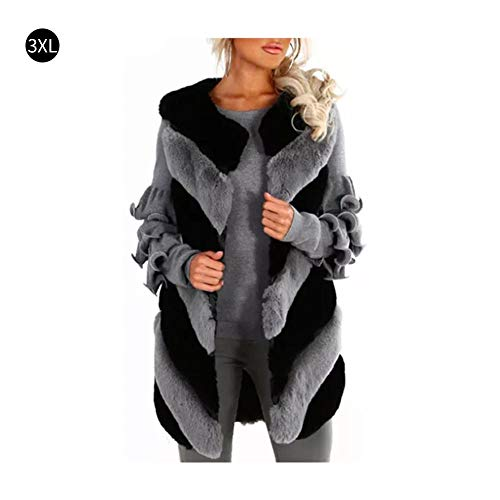 Outerwear Chic - iShine Womens Rex Hair Vest Faux Coat Warm Colorful Faux Fur Coat Chic Jacket Cardigan Outerwear Tops Outdoor