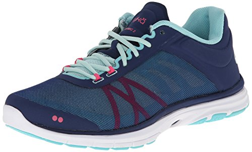 Ryka Women's Dynamic 2-W, Jet Ink Blue/Mint Ice/Hot Pink/Aqua Sky, 5.5 M US