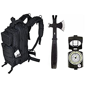 SIS Black Tactical Bag &Tool & Military Style Lensatic Compass Survival Combo: 13  Tactical 3 in 1 Mulit-Use Emergency S