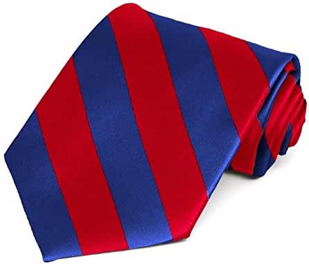 Red and Royal Blue Striped Tie