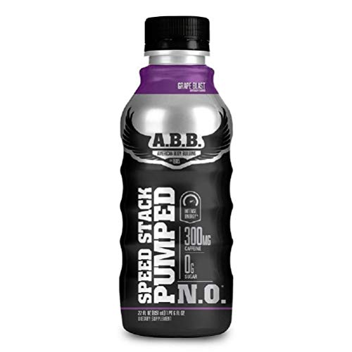 ABB Speed Stack Pumped N.O. Energy Drink, Pre workout, Nitric Oxide, Arginine and Glycerol for pumps, Flavor: Grape, 22 Ounce Bottle, 12 Count