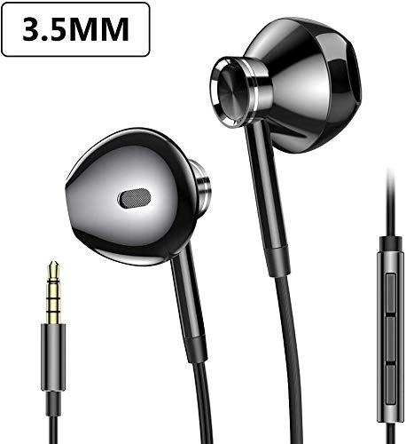 3.5mm Kopfhörer, PRO-ELEC In Ear Kopfhörer Stereo Earphones Headset mit Mikrofon In-Ear Ohrhörer Kompatibel für Huawei iPhone 6/5 Samsung-Schwarz