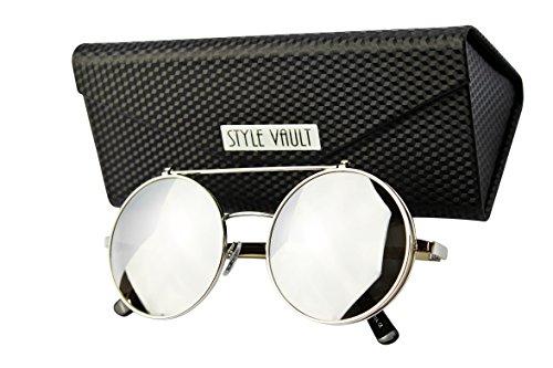 V3120-FC Style Vault Steampunk Flip Up Metal Round Sunglasses (B3330F Silver-Silver Mirror w/case - Sunglasses Alt