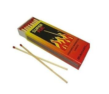 Fósforos de seguridad SUPER FOC extra largos para encendido de barbacoas y fuegos (5 cm): Amazon.es: Hogar