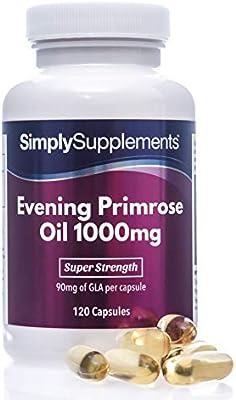 Aceite de onagra 1000 mg - ¡Bote para 4 meses! - 120 Cápsulas - SimplySupplements: Amazon.es: Salud y cuidado personal