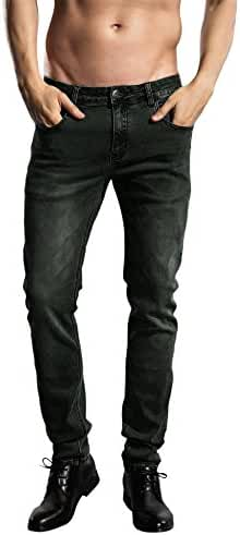 Slim Fit jeans, ZLZ Men's Younger-Looking Fashionable Colorful Super Comfy Stretch Skinny Fit Denim Jeans