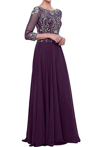 Festkleid Abendkleider Ivydressing Damen Mit Aermeln Chiffon A Ballkleider Linie Traube Steine PI8npIq