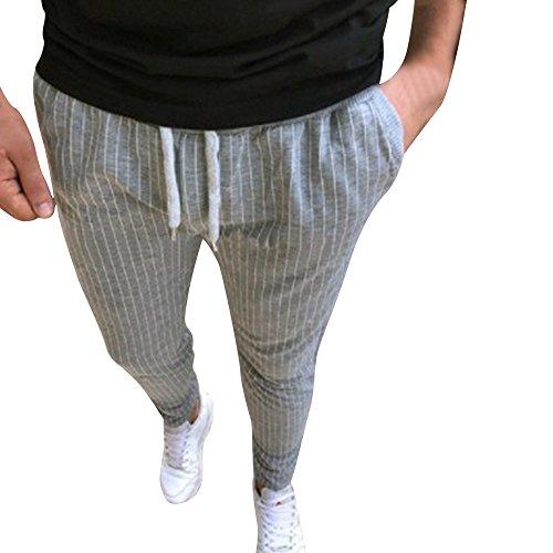 Spbamboo Mens Casual Pants Sport Jogging Striped Slim Pencil Drawstring Trousers by Spbamboo