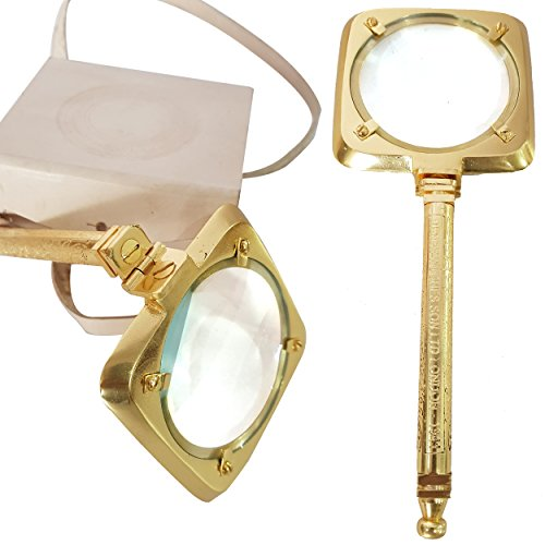 Vintage Handheld Nautical Brass Magnifying Glass With Leather Box Unique Magnifiers Royal Handmade Articles - Collectibles (Collectible Handheld Magnifier)