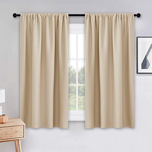 PONY DANCE Beige Kitchen Curtains - Window Treatments Rod Pocket Energy Efficient Blackout Curtain Panels Room Darkening Home Decor for Kids'Room, 42-inch Wide by 45 Long, Biscotti Beige, 2 ()