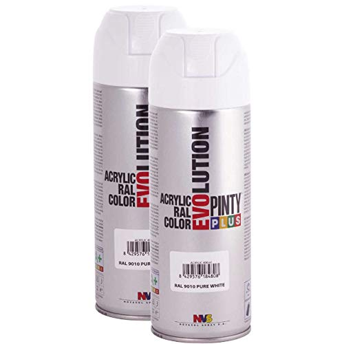 Fast Dry, Low Odor, Low VOC - Acrylic Spray Paint Pintyplus Evolution - Pack of 2 (Pure White) ()