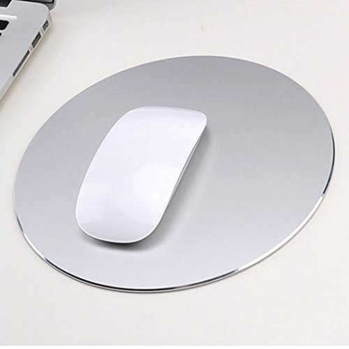 Mouse Pad Aluminum Mouse Pad. Non-Slip Aluminium Alloy Surface for Fast and Accurate Control Rubber Gaming Mouse Pad (Silver)