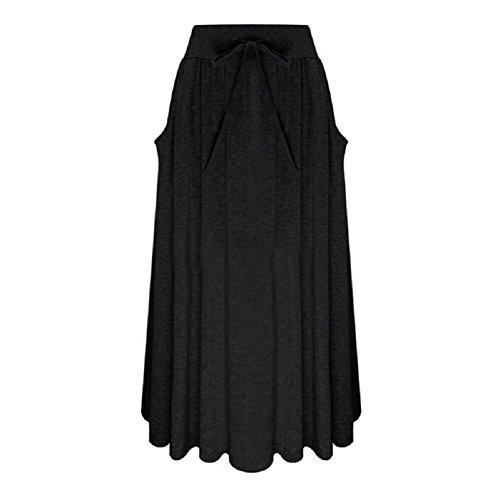 Oudan Femmes A-Ligne lgante Jupe Femmes Taille Haute Jupe midi Ceinture Jupe Maxi avec Poche Noir