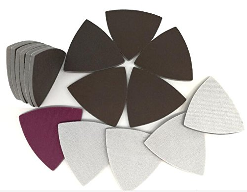 Single Grit Set Triangle Wet/Dry Flocking Sponge Sanding Disc Sandpaper Red 90MMx90MMx90MM 1000 Grit Abrasive Tools for Polishing Grinding