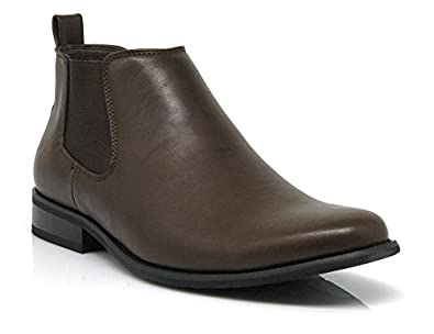 Amazon.com | Chris03 Men's Chelsea Ankle Dress Boots Plain