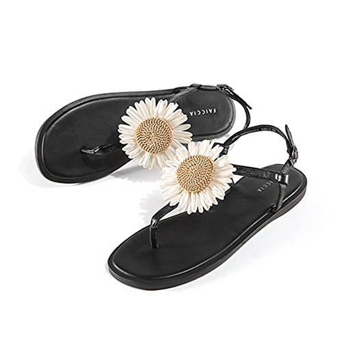 Sandals ZHIRONG Comfortable Clip Toe Flat Bottom Summer Women's Shoes PU One-button Buckle (Color : A, Size : EU38/UK5.5/CN38) A