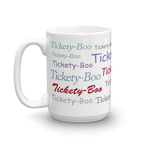 Tickety-Boo. 15 Oz Ceramic Glossy Mugs With Easy Grip Handle, Give A Classic For Look And Feel. 15 Oz Ceramic Glossy Mugs Gift For Coffee Lover