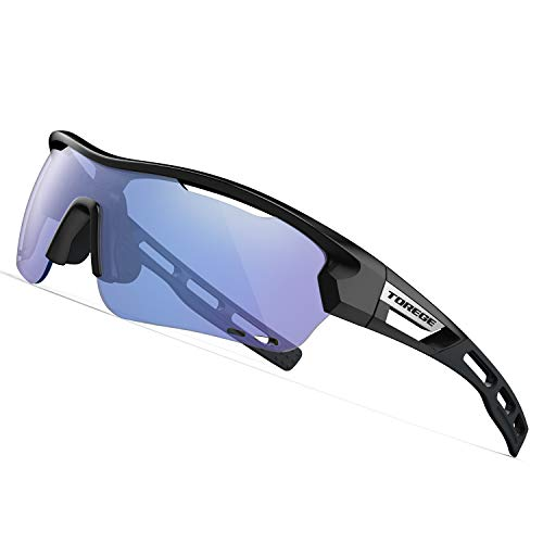 TOREGE Polarized Sports Sunglasses with 3 Interchangeable Lenes for Men Women Cycling Running Driving Fishing Golf Baseball Glasses TR33 Storm Chaser (Black&Black&Photochromic Blue) (Best Cycling Glasses Photochromic)