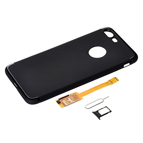 Dual SIM Adapter,add SIM for GSM to iPhone 7,Put in overseas SIM convenient for overseas business trips and perform dual standby with roaming and on-site SMS at local SIM possible-Black by BRIDGOR (Image #3)