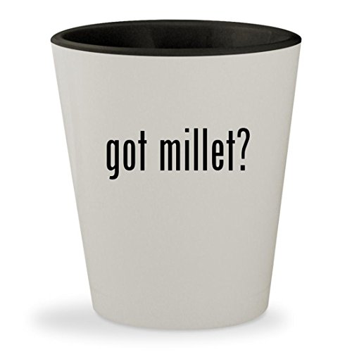 got millet? - White Outer & Black Inner Ceramic 1.5oz Shot Glass - California Golden Spray