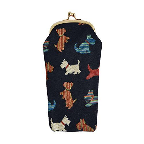 Black Scottie Dog Print Tapestry Eyeglasses Pouch Sunglasses Bag Spectacle Pouch by Signare in Black Background ()