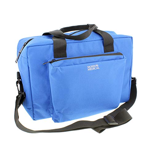 MonMed Blue Nylon Medical Equipment Nursing Clinical Bag - Nurse Organizer Bag for Doctor and Home Medical Supplies