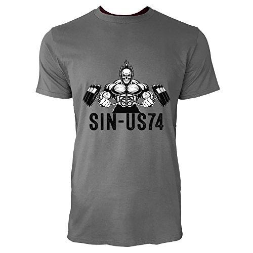 SINUS ART® Bodybuilder mit Totenschädel Langhantel Herren T-Shirts in Grau Charocoal Fun Shirt mit tollen Aufdruck