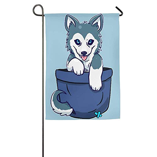 Fluttering Siberian Husky Dog Spring Outdoor Yard House Garden Flags 12x18 inches Polyester Fiber Emblemize by Pingshoes
