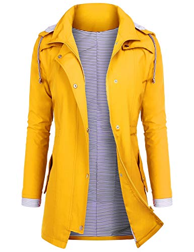 AUDIANO Rain Jackets Women Lightweight Raincoat Striped Lined Waterproof Windbreaker Active Outdoor Hooded Trench Coats Yellow1 XXL