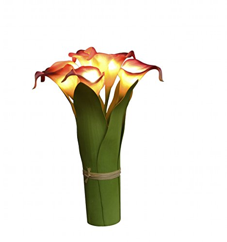 Homeseasons LED Lighted Artificial Flower Calla Lily Arrangement-Battery Operated 7 Heads Calla Lily Light with Green Leaves