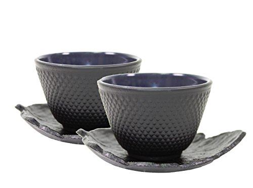 2 Black Leaf Teacup Saucer + 2 Black Polka Dot Hobnail Japanese Cast Iron Tea Cup Teacup (F15369+F15381)~ We Pay Your Sales Tax