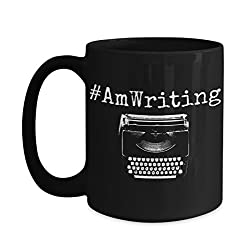 Writer Mug - #AmWriting Funny Quote Author Gift Coffee Mug - Inspirational Novelty Gifts For Writers, Authors, Poets, Musicians, Bloggers, Journalists, Teachers and College Students (15 oz, Black)
