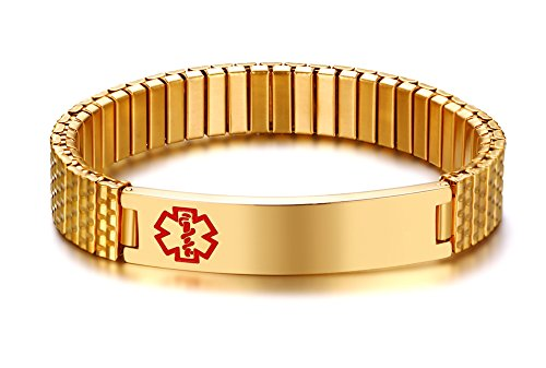 Free Engraving- Men's Stylish Gold Plated Stainless Steel Stretch Medical Alert ID Bracelets for Men Boy
