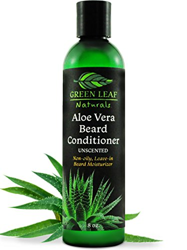 Green Leaf Naturals Aloe Vera Beard Conditioner and Softener for Men - Leave-In Moisturizer, No Oil, No Mess - 99.75% Organic - Unscented - 8 oz