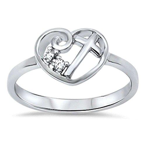 (Oxford Diamond Co Heart Cubic Zirconia Cross .925 Sterling Silver Ring Size 4-12 (12))
