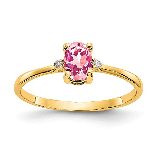 - 14k Yellow Gold Diamond Pink Tourmaline Birthstone Band Ring Size 6.00 Stone October Oval Fine Jewelry Gifts For Women For Her