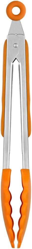 BRA Efficient Pinza de Cocina, Acero INOX, Nailon y Silicona, Naranja, 28.5 cm