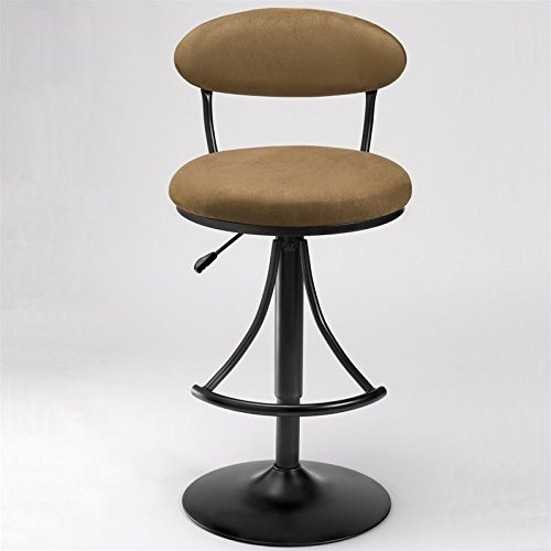 Hillsdale Venus Adjustable Swivel Stool, Black Finish with Bear Faux-Suede Fabric