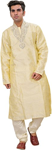 Exotic India Pastel-Yellow Wedding Kurta PA - Off-White Size 40 by Exotic India