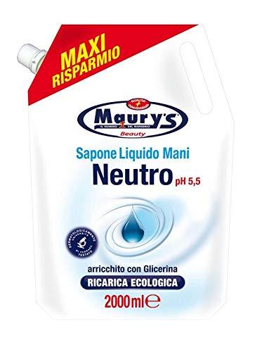 Maury's Sapone Liquido Mani Ricarica Ecologica da 2 Lt Neutro Ph 5.5 MAXI RISPARMIO 1 spesavip