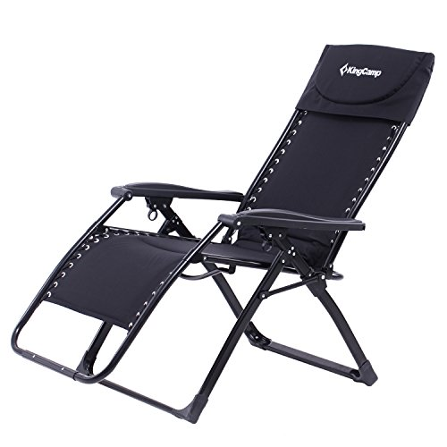 KingCamp Zero Gravity Patio Lounge Chair Recliner Oversized XL Padded Free-Adjustment Heavy Duty Square Legs with Headrest for Garden Outdoor Yard Support 300lbs