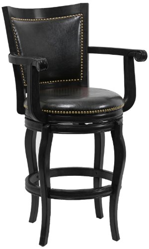 Boraam 52329 Jones Bar Height Memory Swivel Stool, 29-Inch, Black
