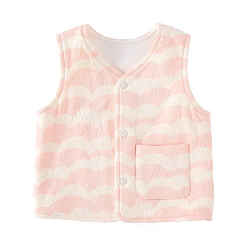 - pureborn Baby Warm Jacket Sleeveless Cotton Cute Toddler Reversible Vest Spring Children Waistcoat Wave Pink 2-3 Years