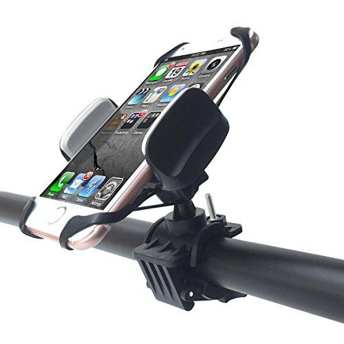 Fahrrad Handyhalterung, DEGBIT®[360-Grad-Drehung ] Universal Smartphone Halterung Verstellbar mit Silikonhalterung für Smartphone/PDS/GPS Navigator/MP4, Stoßfest Handyhalter Fahrrad (Schwarz)
