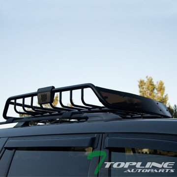 Topline Autopart Universal Heavyduty Steel Roof Rack Cargo Basket Carrier Travel Luggage Storage with Wind Fairing (Black)