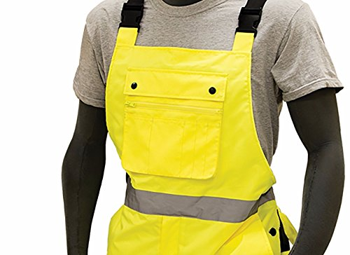 Majestic 75-2357 ANSI Class E Hi-Viz Bib Overalls, Waterproof, Quilted Insulation, Reinforced Nylon Rip-Stop, Zippers at Ankle, 3M Scotchlite, Yellow/Black, Size: XL by Majestic (Image #1)