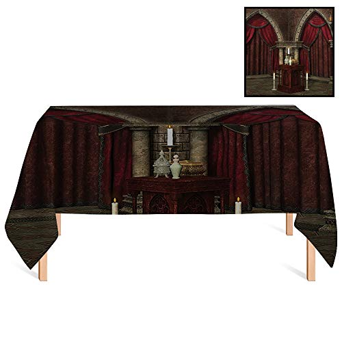 (SATVSHOP Home decoraiton Tablecloth /90x156 Rectangular,Gothic House Mysterious Dark in Castle Ancient Pillars Candles Spiritual Atmosphere Pattern Ruby Umber.for Wedding/Banquet/Restaurant.)