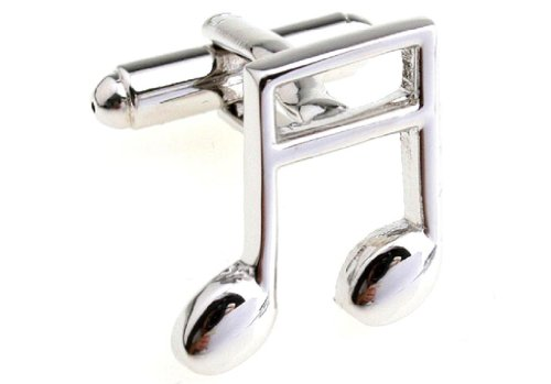 MRCUFF Music Banded Beamed Note Pair Cufflinks in a Presentation Gift Box & Polishing Cloth ()